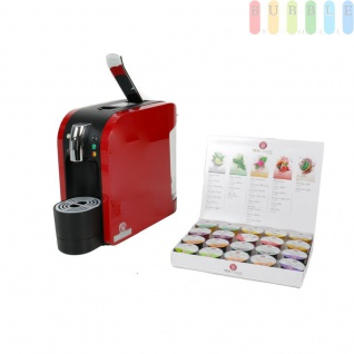 Teemaschine inkl. 20 Teekapseln, Tee Kapselmaschine zum Teekochen, 4 Teeprogramme, Podest für verschiedene Tassen, rot
