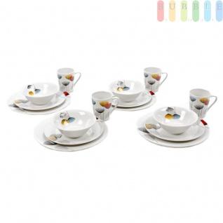 Tafel-Service, 16-teiliges Geschirr im Retro-Design für 4 Personen von Alpina, Keramik-Set für Privat und Gastronomie: Essteller, Frühstücksteller, Müsli-Schale, Becher, bunt auf weiß