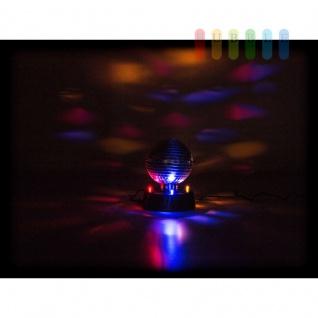 Disco-Spiegel-Kugel von PartyFunlights, rotierend, Ein-Aus-Schalter, Netzteil inklusive, 4 bunte LEDs, Ø 10 cm - Vorschau 2