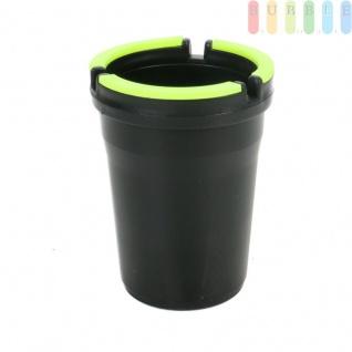 Wind-Aschenbecher, für PKW-Getränkehalter, Garten, Terrasse oder Balkon, Deckel mit leuchtendem Neon-Rand, windgeschützt, leichte Reinigung, Kunststoff,