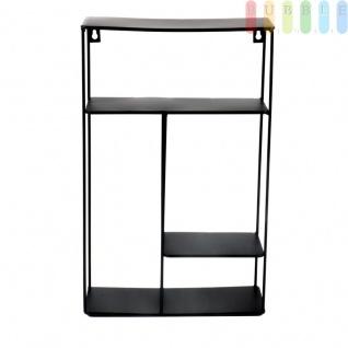 Metall-Wandregal von Arti Casa, 3Ablagen, freistehend, Aufhänger für Wandbefestigung, Industrial Design, schwarz, Höhe ca. 40 cm