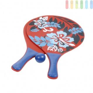 3-teiliges Beachball-Set, Strandspielzeug für Kinder und Erwachsene, 2 stabile Holzschläger und 1 Kunststoffball, Tragenetz mit Aufhängeöse, Design4