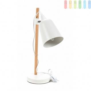Schreibtischlampe von Grundig, Holz-Metall-Materialmix, Designskandinavisch, Neigungund Höheverstellbar, E14/25W/9Wmax.