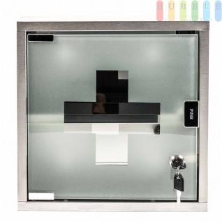 Medizinschrank abschließbar, Medikamentschrank quadratisch aus Edelstahl, Glastür mit Schloss, 2 Schlüssel, inklusive Montagematerial, Maße ca. 30 x 30 cm