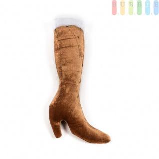 Weihnachts-Damen-Stiefel zum Befüllen aus weichem Velours im eleganten Design, Farbe Gold/Weiß
