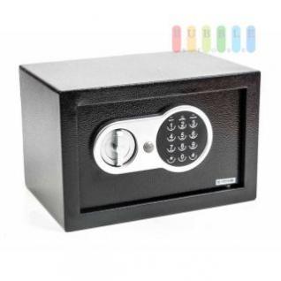 Digital-Safe von Safe & Secure mit Zahlencode und Notschlüsseln, Wand- oder Bodenmontage, Stahl, schwarz