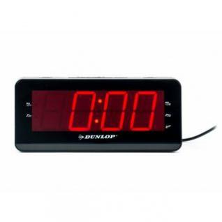 Radiowecker von Dunlop, Display besonders groß, 10 Speicherplätze, Snooze-Taste, Sleep-Funktion, Oldschool-Design, Farbe Schwarz