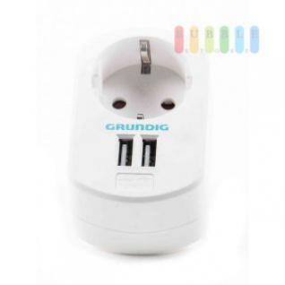 USB-Ladegerät von Grundig mit Steckdose und 2 USB-Buchsen, 250V/50Hz AC und 2 x 5V/2, 1A DC