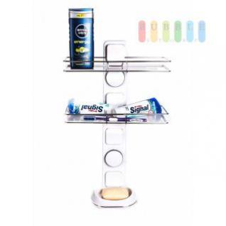 Duschablage / Organizer von Alpina, 2 Regale, 1 Seifenschale, Montage mit Saugnäpfen oder Montageplatten, Belastung max. 10 kg, Größe 51 x 30 x 13 cm