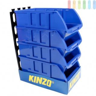 4 Stapelboxen mit Aufhängeschiene von Kinzo Storage, Kunststoff, ca. 15 x 25 cm pro Box, blau
