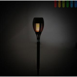 Solarlampe mit 12 warm, gelb leuchtenden LEDs, mit Flammen-Effekt, ca. 6 - 8 Std. Leuchtdauer, On/Off-Schalter, Höheca.47, 5 cm, Kunststoff, schwarz