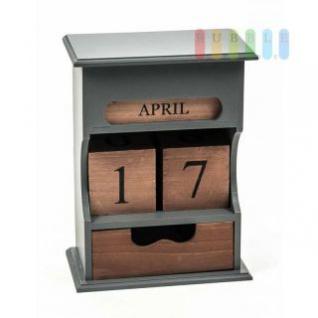 Kalender / Endloskalender von Arti Casa aus Holz, 1 Schublade, freistehend, moderne Landhaus-Serie in natur/grau, Größe ca. 16 x 21 x 9 cm