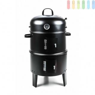 Grill- und Räucherofen von BBQ, mit Belüftungsregulierung, Thermometer, 2Kohlebehälter, 2Grillroste, 6Räucherhaken, rund, Höheca.85cm, schwarz