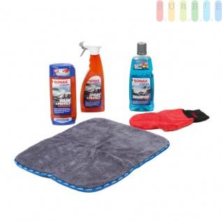 Auto Reinigungs-Set von Sonax EXTREME mit Shampoo (1 l) Konzentrat 2 in 1, Waschhandschuh, Wash+Protect Waschversiegelung, Spray+Protect Sprühversiegelung, Ultra-Microfasertuch mit hoher Flüssigkeitsaufnahme