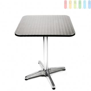 Bistro Tisch höhenverstellbar, Garten, Terrasse oder Balkon, Stahl mit Holzkern, Aluminium-Fuß, klappbar, quadratisch