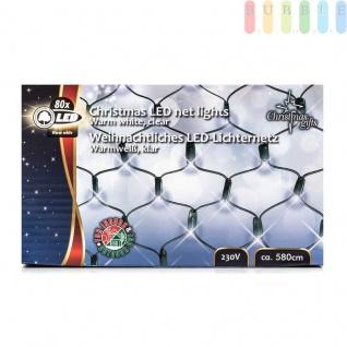 LED-Lichternetz von ChristmasGifts, 80 warmweißeLEDs, In-/Outdoor, 230V, Größeca.80x100cm
