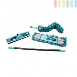 Reinigungsset 7-teilig von Alpina für Haushalt und Büro, ausziehbarer Metallstiel (ca. 69-120 cm), austauschbare Chenille-Mikrofaser-Aufsätze, Wischmop, Fensterreiniger mit Abzieher, Staubwedel