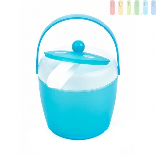Eiskübel von Fresh & Cold mit Zange, Henkel und Deckel, doppelwandig, Volumen1, 5l, Größeca.20x18cm, Farbe Blau
