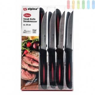 Steakmesser-Set von Alpina aus rostfreiem Edelstahl, Wellenschliff, ergonomischer Griff, Längeca.23cm, 12er-Set