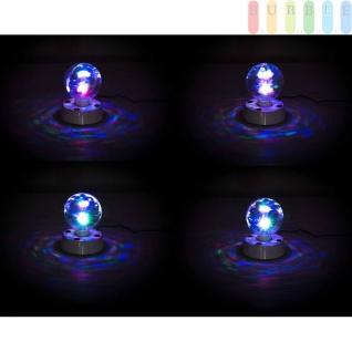 Disco-Lampe von PartyFunLights 3 bunte LEDs hinter rotierender Facetten-Kugel, inkl.Netzteil, ?ca.10cm - Vorschau 2