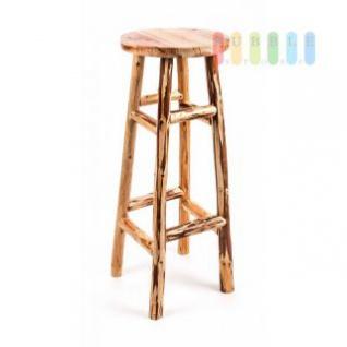 Barhocker aus Teakholz, Beine grob bearbeitet, Sitzfläche glatt, rustikales Design, Höhe ca. 80 cm