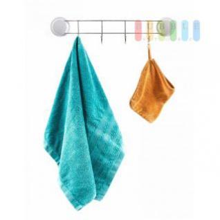 Handtuchhalter von Alpina, 4 Haken, Montage mit Saugnäpfen oder Montageplatten, Belastung max. 10 kg, Größe 10 x 47 x 5 cm