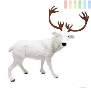 Stehendes Rentier mit weiß glitzerndem Kunstfell und Geweih, Weihnachtsdekoration, Länge mit Geweih ca. 124 cm