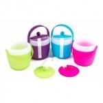 Eiskübel von Fresh & Cold mit Zange, Henkel und Deckel, doppelwandig, Volumen 1, 5 l, Größe ca. 20 x 18 cm, lieferbar in den Farben Grün, Violett, Blau oder Pink