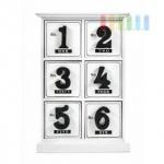 Mini-Kommode von Arti Casa aus MDF, 6 Schubladen, Ziffern-Design, Ziffern-Griffe, Höhe ca. 29, 5 cm