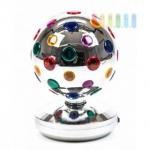 Disco-Lampe von PartyFunLights, Netzanschluss, rotierend, bunte Reflektoren, silber, 9 LEDs, Ø 20 cm
