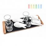 Appetizer-Set von Alpina, 4 Schalen, 4 Löffel, 4 Gläser mit Schieferplatte und Holz-Tablett, Größe ca. 33 x 12 cm