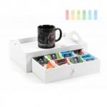 Serviertablett mit Schublade von ARTI CASA, Holz lackiert, Skandinavien-Design, 7 Fächer, weiß