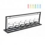 Teelicht-/ Kerzenhalter von Arti Casa aus Metall, schwingend gelagert, Glasbecher für 6 Teelichte, Länge ca. 57 cm, schwarz