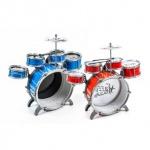 Schlagzeug / Drum-Set für Kinder von EDDY TOYs, 5 Trommeln, 1 Becken, 2 Sticks, Steckmontage, Größe ca. 52 x 55 x 39 cm, lieferbar in den Farben Blau/Schwarz oder Rot/Weiß