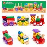 Holz-Eisenbahn-Spielset von Marionette mit 3 Wagen und 14 Holzbausteinen, Steckverbindung, 17-teilig, bunt