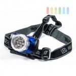 Stirnlampe/Kopflampe von Dunlop, 7 LEDS, elastische Bänder, Neigung verstellbar, 3 Lichtfarben, 4 Funktionen