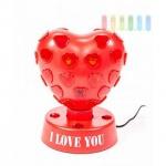Disco-Lampe herzförmig von PartyFunLights, 5 LEDs in rotierendem Herz, inkl. Netzteil, Ø ca. 20 cm
