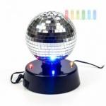 Disco-Spiegel-Kugel von PartyFunlights, rotierend, Ein-Aus-Schalter, Netzteil inklusive, 4 bunte LEDs, Ø 10 cm