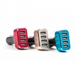 USB-Adapter/-Ladegerät ALL Ride für Zigarettenanzünder mit 4 USB-Buchsen, Betriebsleuchte, Alu-Design, 12/24V, 5V/8, 7A, lieferbar in den Farben Champagner, Rot oder Blau