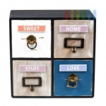 Mini-Kommode von Arti Casa aus MDF, 4 Schubladen, freistehend, Shabby-Chic, antrazith, Größe ca. 25 x 25 x 10 cm