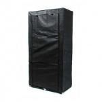 Faltkleiderschrank, 1 Kleiderstange, 6 Ablagen, werkzeuglose Montage, Größe 170 x 87 x 45 cm, Farbe Schwarz