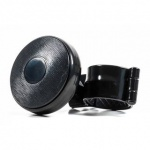 Lenkradknauf All Ride für LKW, Kunststoff-Knauf, Metall-Klammer, Lenkrad-Schutz, Design Black-Wood, Farbe Schwarz