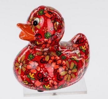 Spardose Sparbüchse Ente Flower Power in Rot aus Keramik, 13 cm