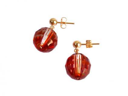 Ohrringe Rot Vergoldet MADE WITH SWAROVSKI ELEMENTS® 1, 5 cm