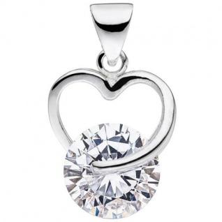 Anhänger Herz 925 Sterling Silber 1 Zirkonia Herz Anhänger