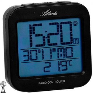 Atlanta 1809/7 Wecker Funk digital schwarz Licht Datum Thermometer