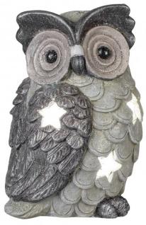 Windlicht Eule Kerzenhalter Eulen Deko grau mit Glitzer 22 x 50 cm
