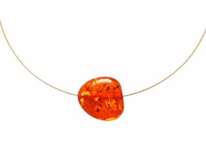 Damen Halskette Anhänger Vergoldet Bernstein Gelb 45 cm