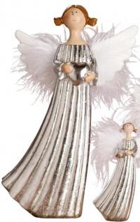 Deko Figur stehender Engel mit Herz aus Keramik in Silber 12 cm groß