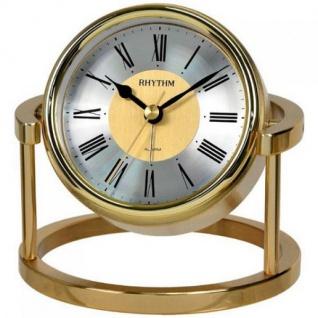 Rhythm 7958 Tischuhr quarz golden ohne Ticken mit Weckfunktion